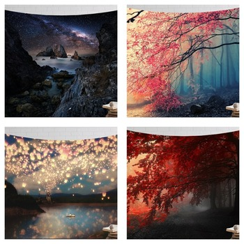 CAMMITEVER Wall Hanging Decorative Wall Carpet Yoga Mats Starry Cloud Snow Airship Mountain Seaside Beach Coconut Tree Tapestry