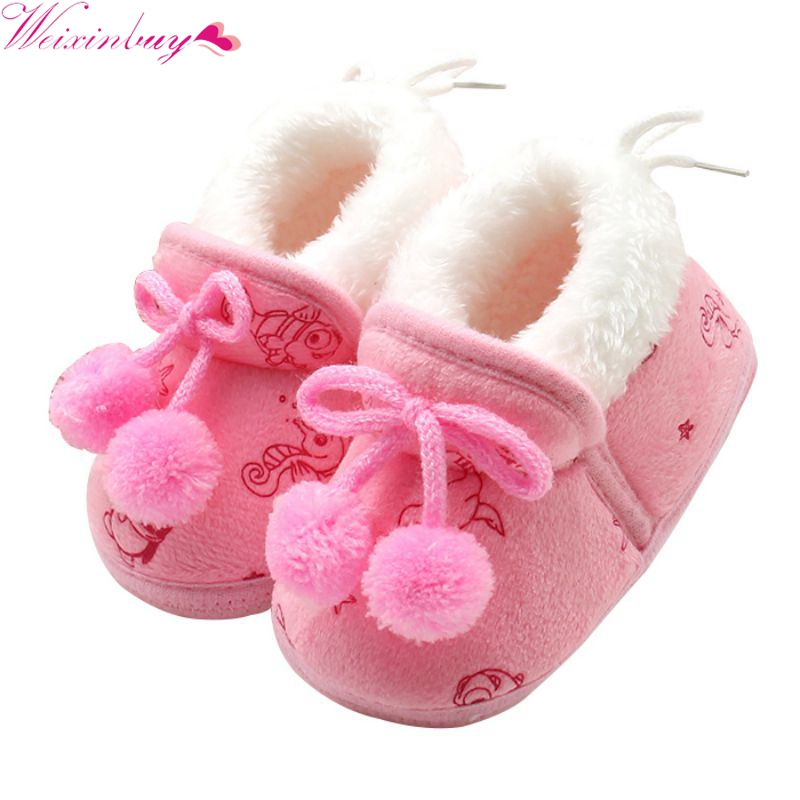 Newborn Baby Boots Girls Princess Bowknot Winter Warm Boots Soft Soled Infant Toddler Kids Girl Shoes
