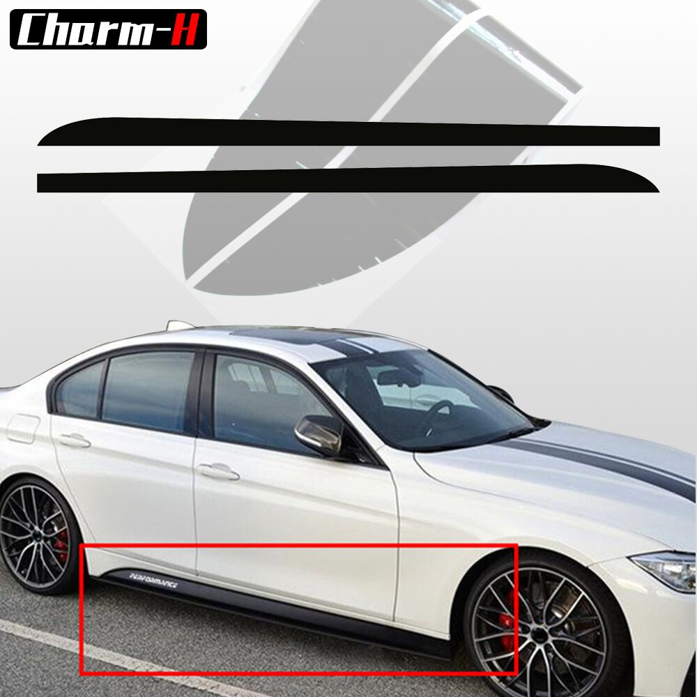 2 piezas 5D fibra de carbono lateral falda alféizar raya calcomanía para BMW F30 F31 M-paquete M línea M Sport M pegatinas de rendimiento