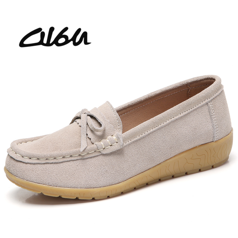 O16U Autumn women loafer flat shoes ballerina flats women Moccains slip on   suede     leather   ladies casual boat shoes large size