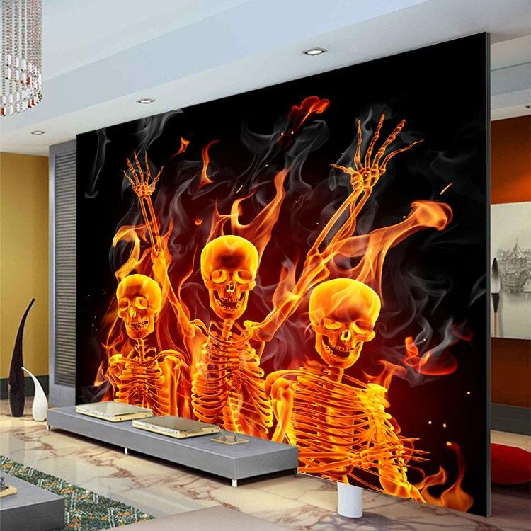 Buy fire skull wallpaper custom 3d wall for Decoration cost per m2