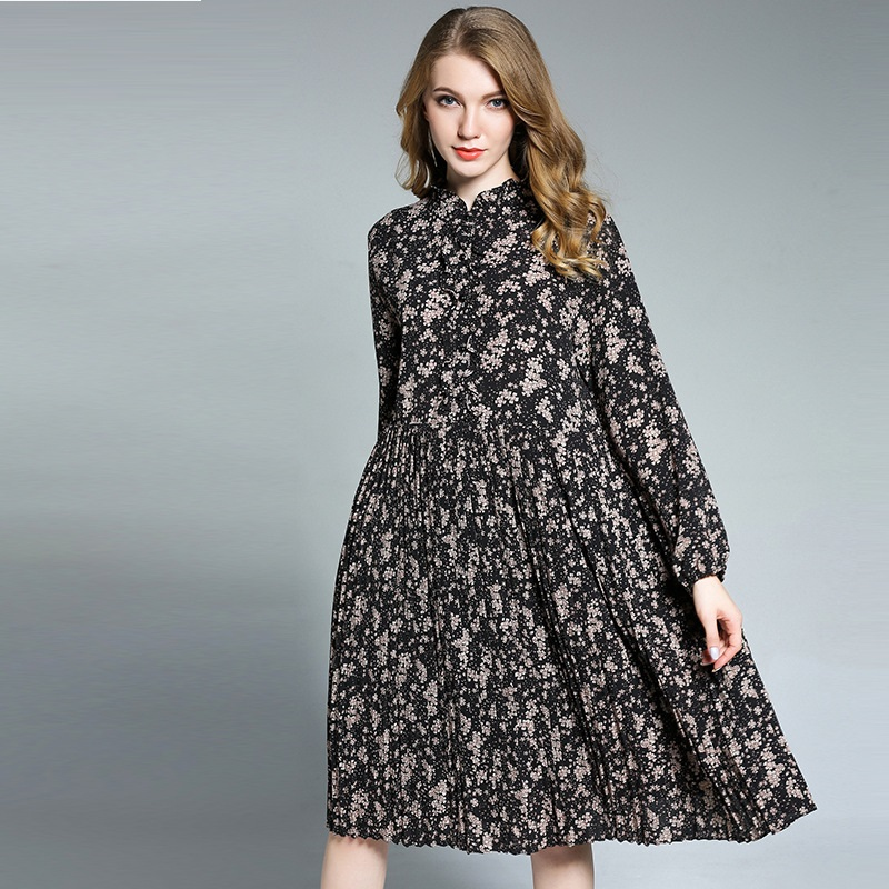 New 2018 Spring Ladies beautiful Floral dress Plus Size mandarin collar female elegant loose fit pleated dress casual vestidos