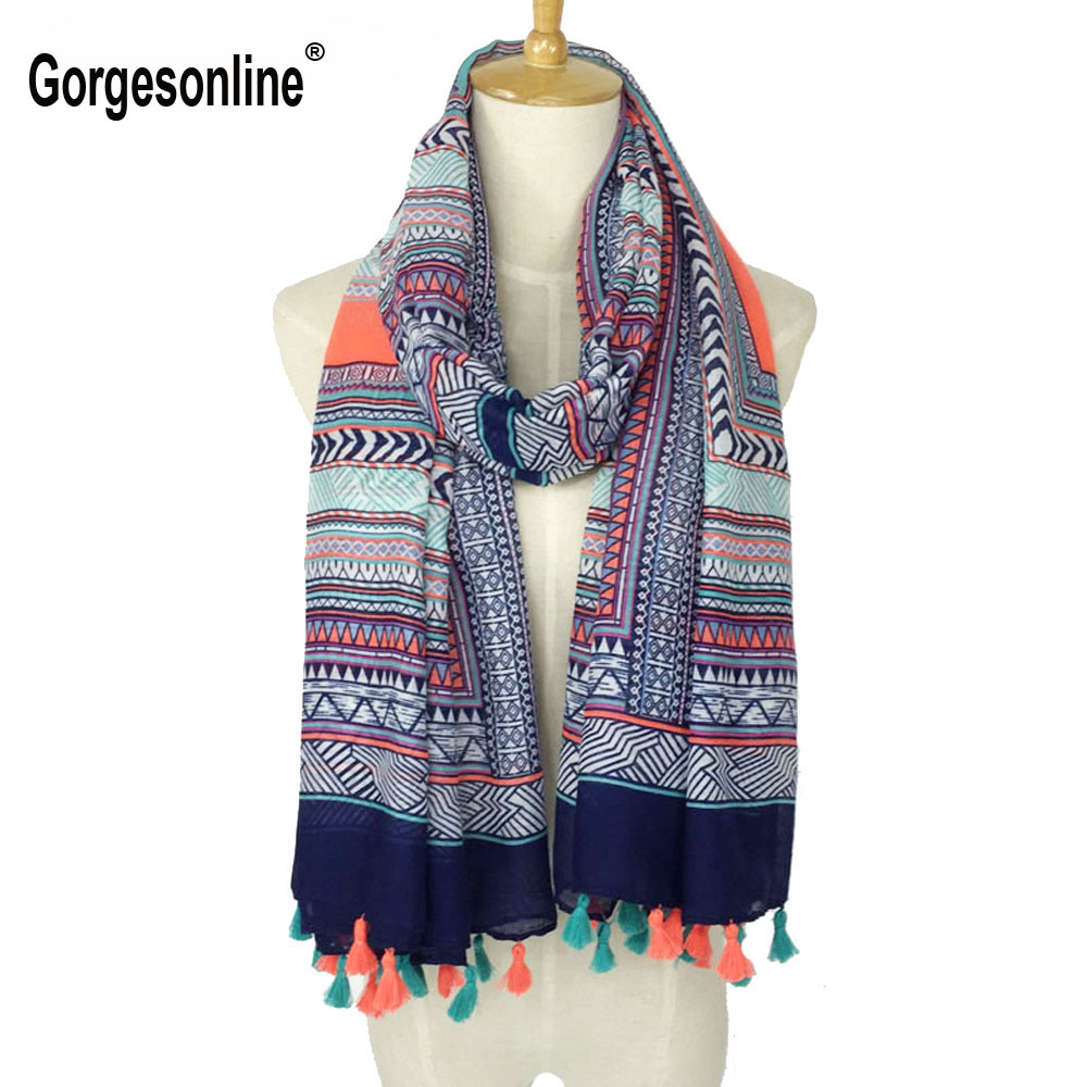 2018 Spring Autumn New Design Ethnic Style Voile Cotton Women Thin Long Shawl   Scarf   Woman Big Size Pashminas   Wrap   Hijab
