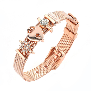 Love Lock Bracelet Gold Color Strap Jewelry