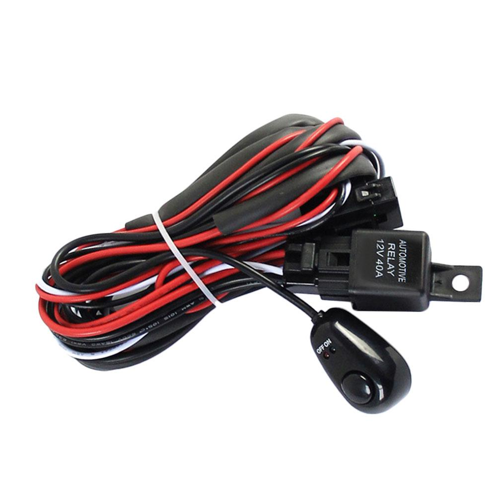 Universal 1 for 2 Car Fog Light Strip Switch Wiring Harness Kit Loom For LED Work Driving Light Bar With Fuse And Relay Switch