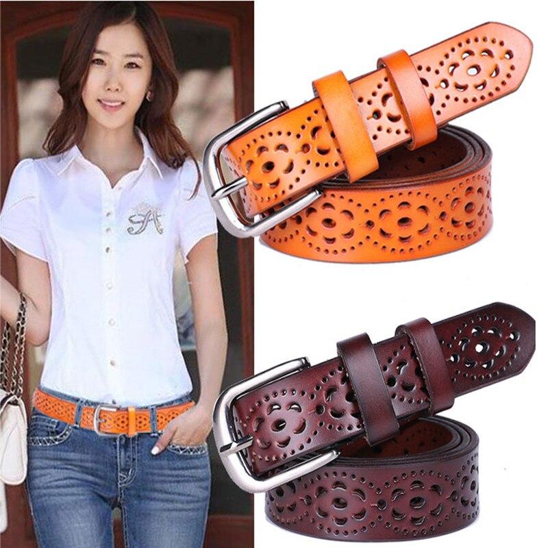 Nueva manera de las mujeres cinturón de cuero genuino mujer sin perforación de lujo Jeans cinturones correas de calidad superior femeninas Ceinture Femme