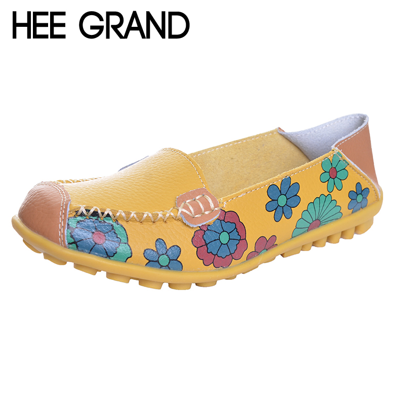HEE GRAND Floral Print Patchwork Women Flats Slip-on Soft Comfortable Casual Shoes Spring And Autumn Shoes For Women XWD1260 hee grand summer loafers split leather floral moccasin platform shoes woman slip on flats comfortable casual women shoes xwt1194