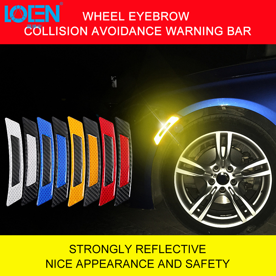4PCS Car Reflective Strips Warning Mark Door Bumper Stickers Reflector Tape L1F
