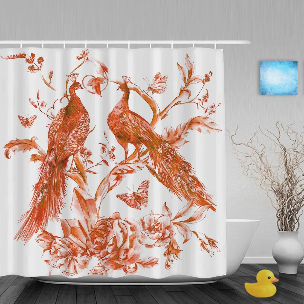Watercolor Peacocks Roses Bathroom Curtains Crystals Butterflies Decor  Shower Curtain Waterproof Polyester Fabric With Hooks
