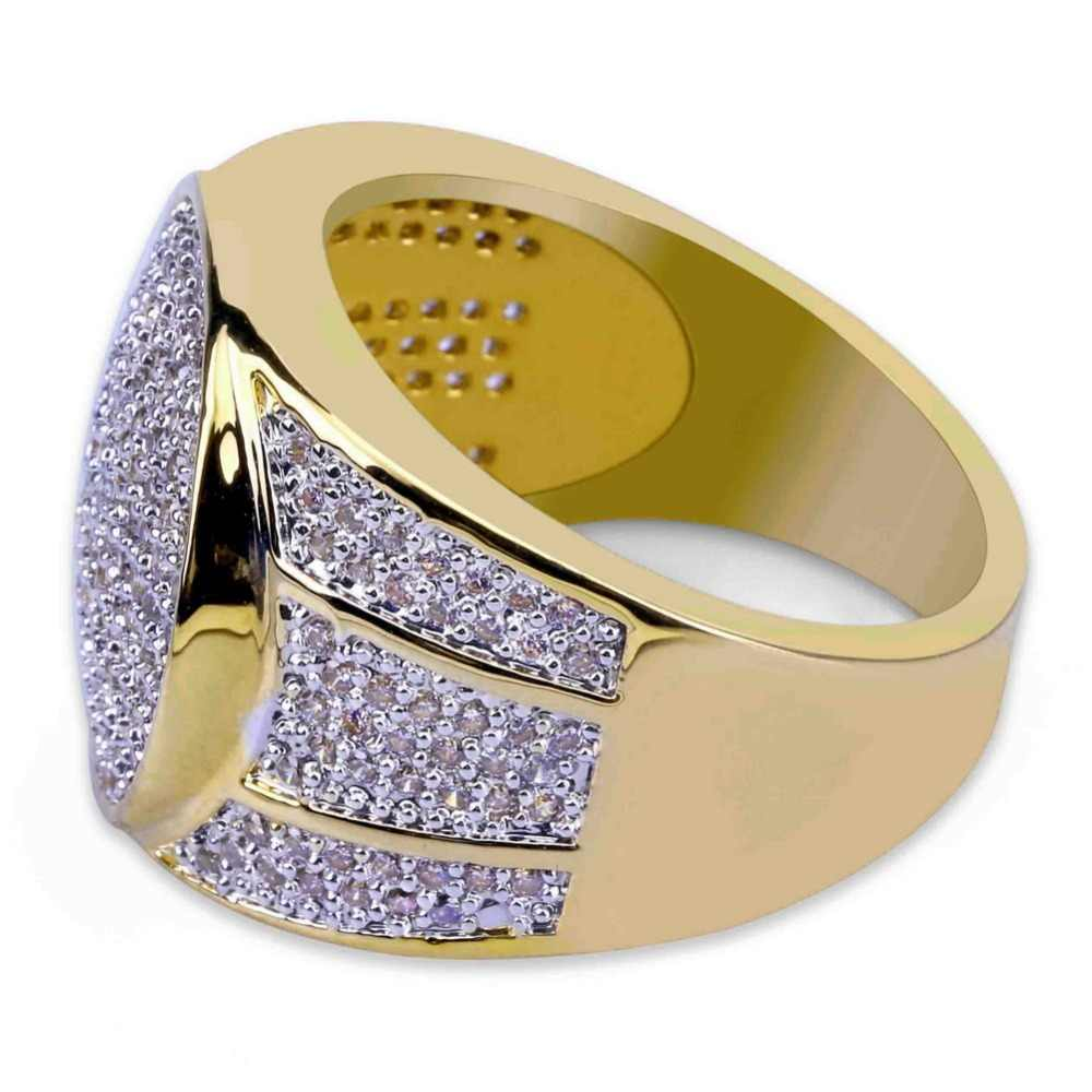 TOPGRILLZ Gold Plated Iced Out Micro Pave Cubic Zircon Bling แหวน Hip Hop สำหรับผู้ชาย