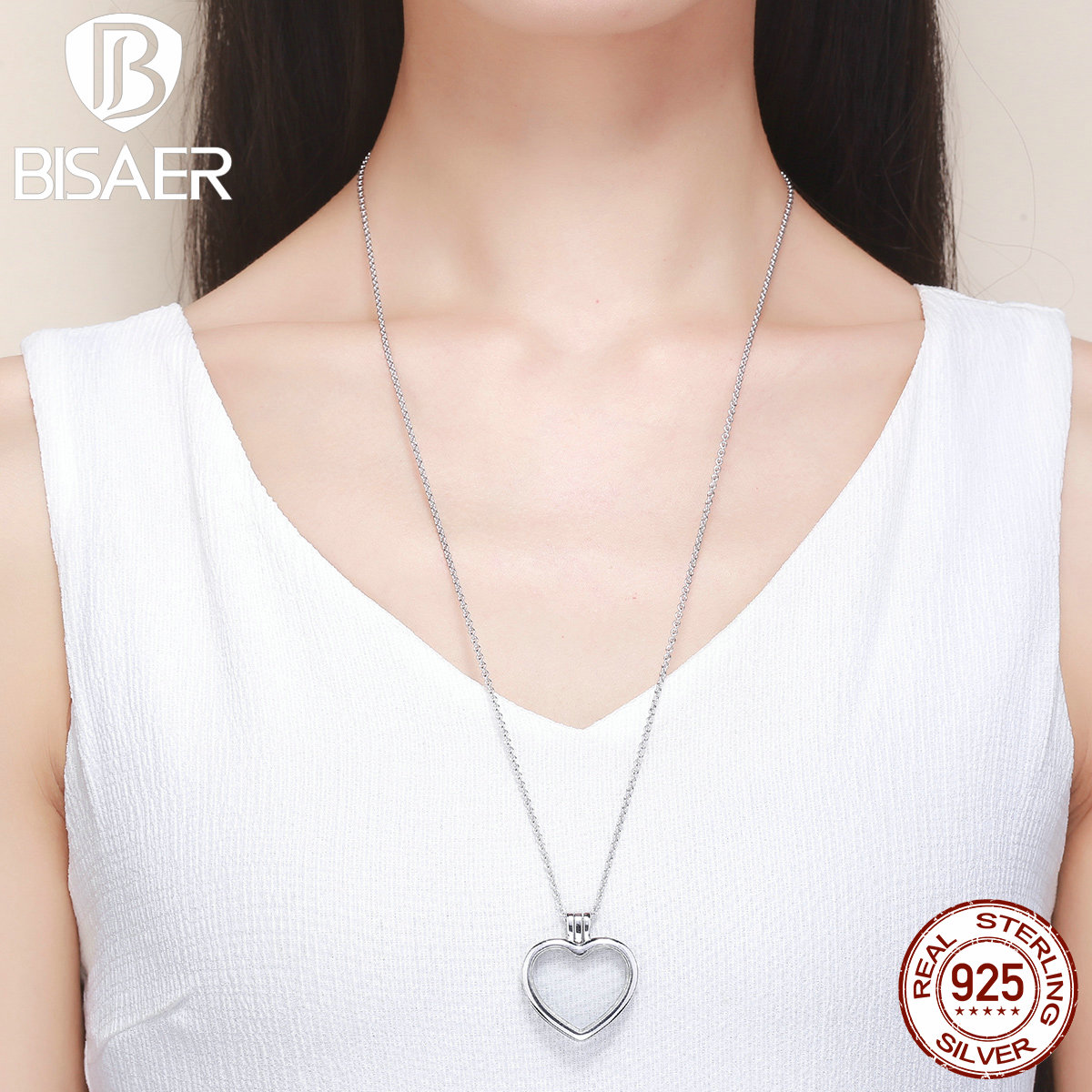 2018 New 925 Sterling Silver Medium Petite Memories Long Chain Necklace Heart Floating Locket Necklace Sterling-Silver-Jewelry authentic 100% 925 sterling silver round power box petite memories long chain necklace floating locket necklace diy jewelry