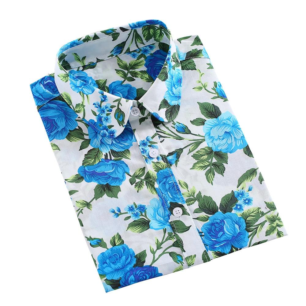 QIHUANG New Florla Women Long Sleeve Shirts Cotton Women Blouses Turn-down Collar Plus Size 2019 Fashion Women Tops And Blouses