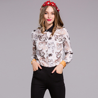 Milan Runway High Quality 2018 Spring New Women'S Party Office Work Print Cat Shirt Fashion Long Sleeve Top Plus Size Blouse