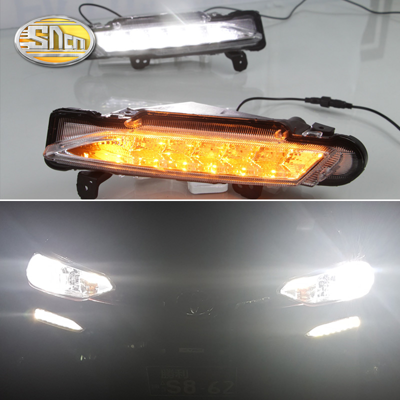цена на For Toyota Yaris 2017 2018,Yellow Turning Signal Relay Waterproof ABS 12V Car LED DRL LED Daytime Running Light Daylight SNCN