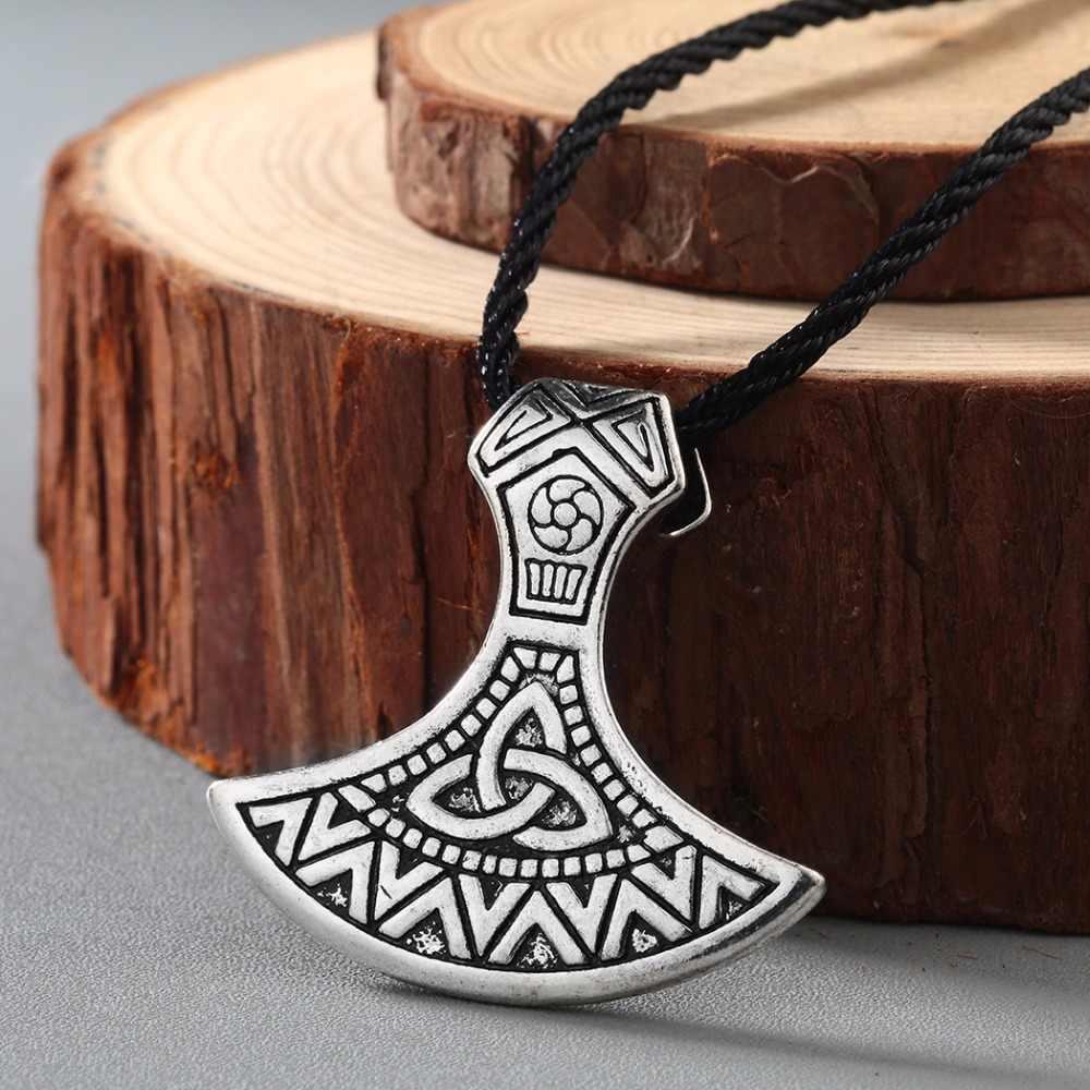 CHENGXUN ผู้ชายสร้อยคอไวกิ้ง Odin สัญลักษณ์หมวกนิรภัยสยองขวัญใน Rune Braided Borre Knot นอร์ส Celtic จี้ที่ไม่ซ้ำกัน Punk ของขวัญ