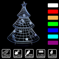 Christmas Tree 3D Light Colorful Gradient Acrylic USB Lamp Touch Remote Control LED Table Touch Lovely