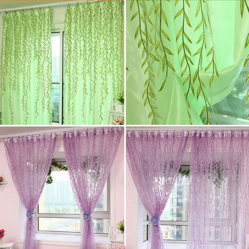 US $2.71 24% OFF|2 Colors Willow Printed Blinds Voile Tulle Room Curtain  Sheer Panel Drapes For Living Room Bedroom Curtains P20-in Curtains from  Home ...