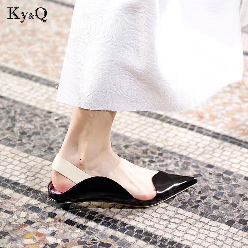 2018 Soft Leather Pointed Toe Flats Women Spring Summer Slippers & Loafers Woman Shoes Street Fashion Mules