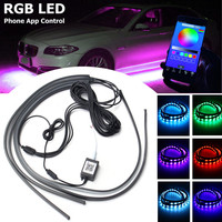 4Pcs LED Car Lights RGB Decorative Lamp Music App Control Tube Strip Light Underglow Undercar Kit WireLess Car Colorful Lights