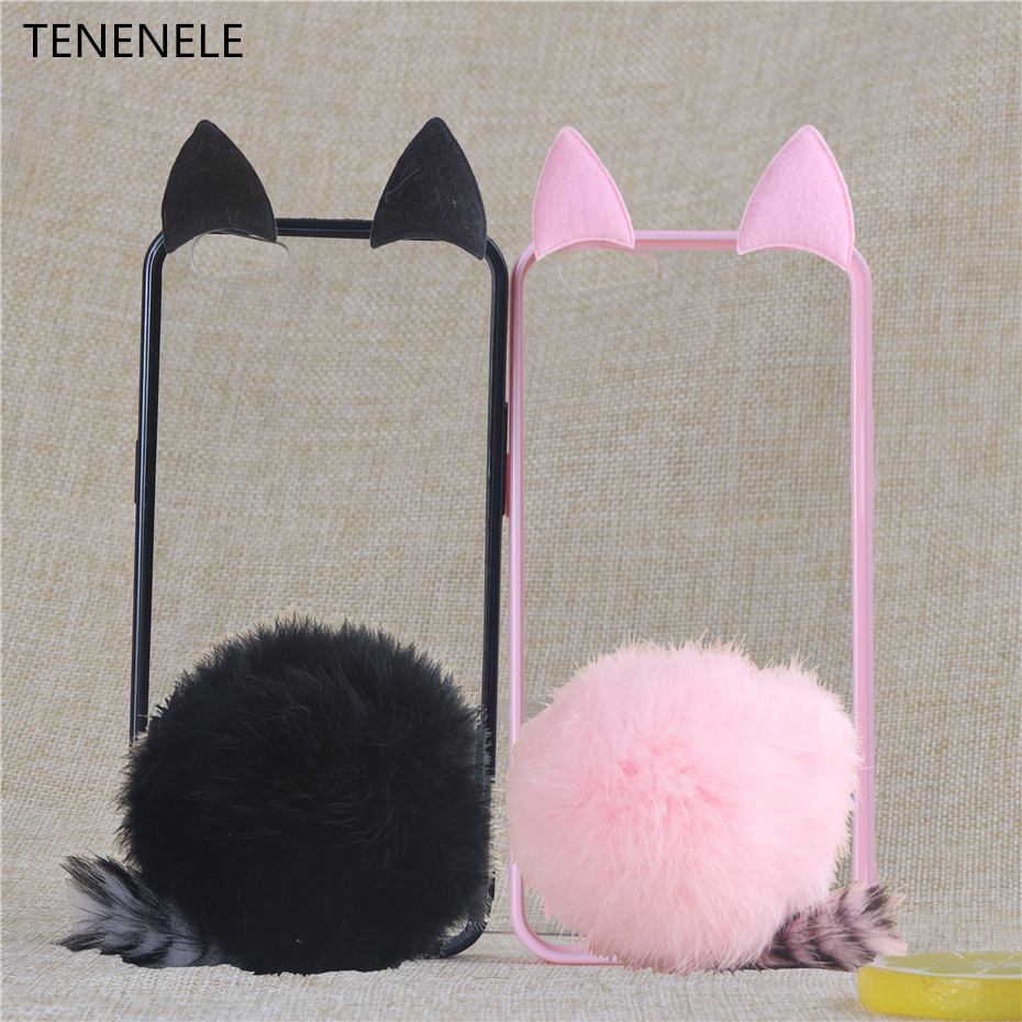 Tenenele чехол для телефона 5,0 ''для OPPO A35 F1 милые меховые Кролик Обложка мягкие прозрачные силиконовые чехлы для OPPO F1 A35