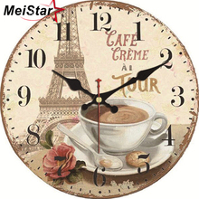 MEISTAR Vintage Decorative Round Tower Wall Clock Silent Durable Watches Cafe  Home Decor Art Large Elegant Clocks