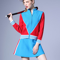 French Fashion Runway 2018 Spring New V colored Long sleeved Knitting Shirt A Character Skirt Two piece Suit Sets for Women