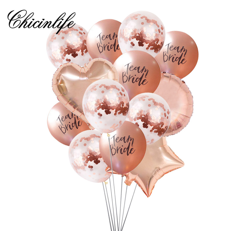 Chicinlife 10pcs rose gold team Bride to be Balloon Wedding Decoration Bridal Shower Bachelorette Party Ballons Party Supplies