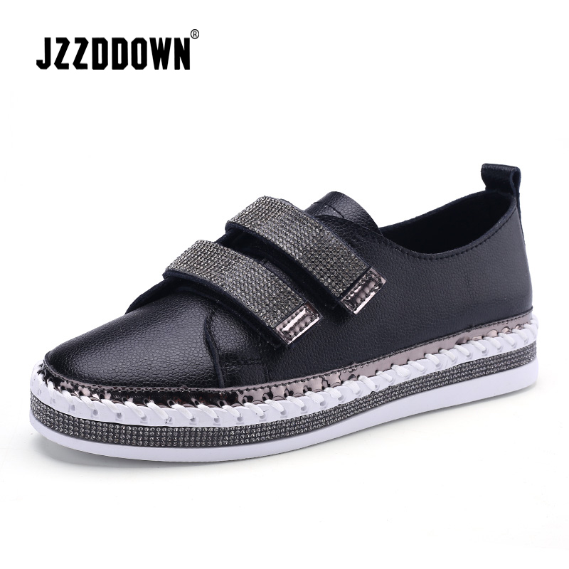 JZZDDOWN Genuine   Leather   White Flat Sneakers Women Soft Spring Ladies   Leather   Shoe Casual Women Shoes Wedding sneakers for women