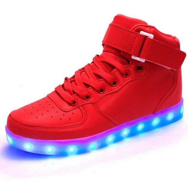 Унисекс Led Обувь 8 Цвета СВЕТОДИОДНЫЕ Светящиеся обувь Моды для Мужчин высокого верха Загорается СВЕТОДИОДНЫЙ Обувь для Взрослых плюс размер 35-46 бесплатная доставка