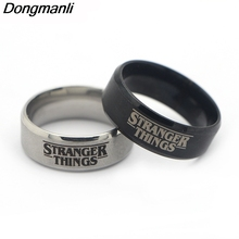 P3888 Hot Show Stranger Things TV Ring Stainless Steel Rings for Women Men Party Fashion Black Silver Jewelry