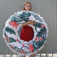 Unique Design Inflatable Swimming Circle Thickened PVC Inflatable Children Swim Float Ring with Palm Tree Printing Beach Towel