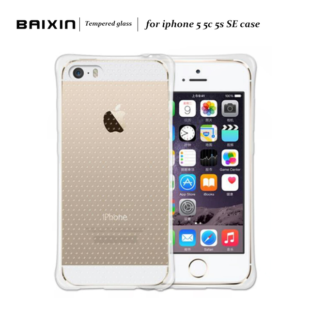 Baixin Air Cushion Silicone Back Case For Apple iPhone 5 5C 5S SE Proof Protector Shell Cover For iPhone5 5S SE Transparent Case