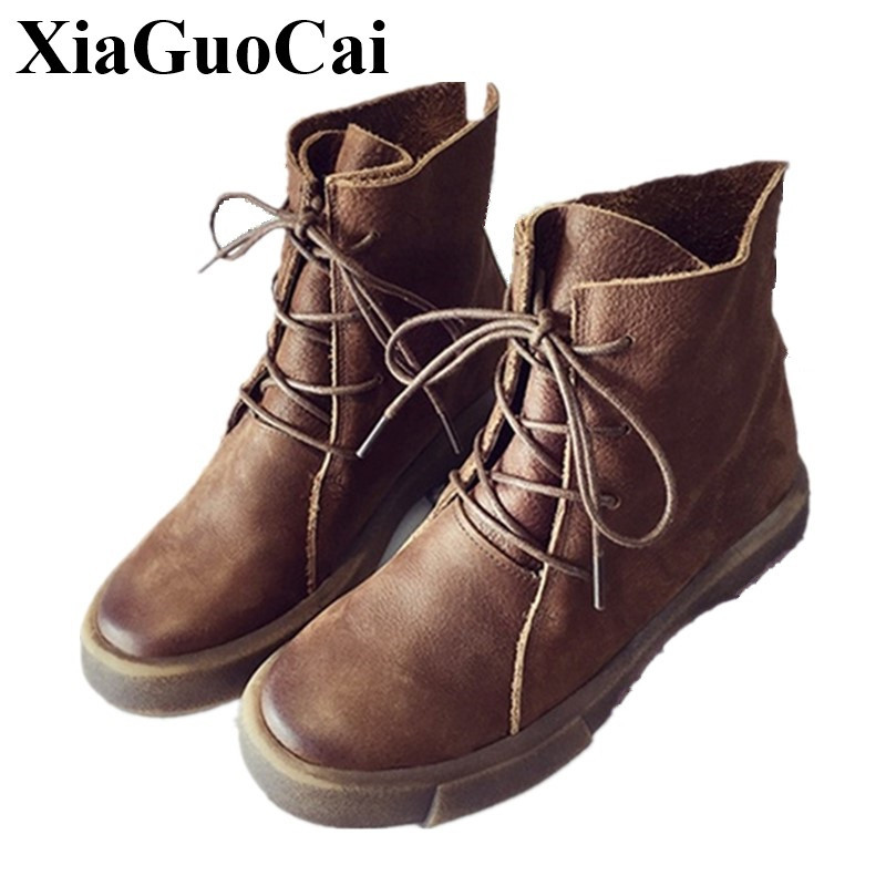 Winter New Shoes Women's Boots Warm Fur England Retro Style Lace-up Round Toe Flats Martin Boots Leather Women's Shoes H535 35 new england textiles in the nineteenth century – profits