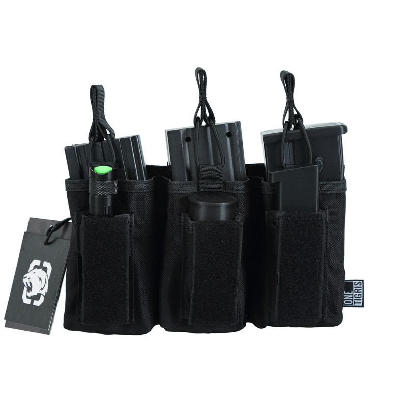OneTigris Open-Top Triple Rifle/Pistol Magazine Pouch Tactical M4/M16/SA80//G36/AK47/AK74 Mag Pouch For Airsoft Paintball