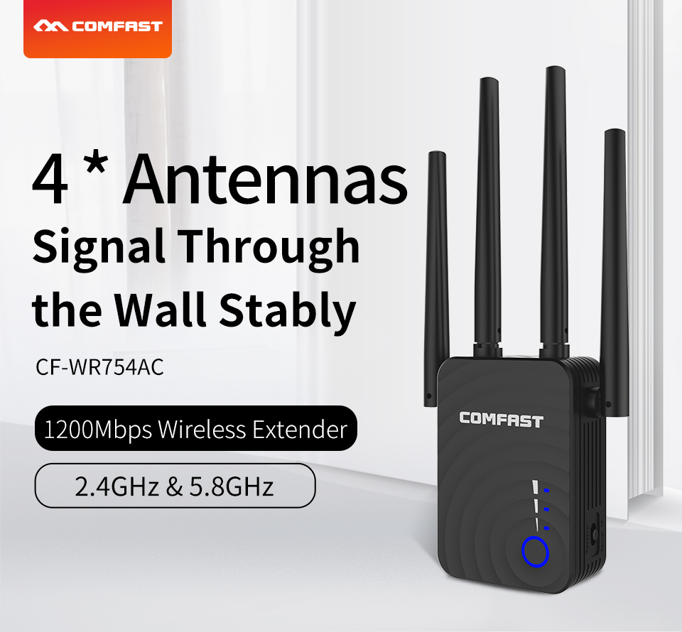COMFAST CF-WR754AC 1200Mbps Home Wireless Dual Band WiFi Range Extender 2.4/5Ghz  Signal Booster With 4 Ethernet Antennas