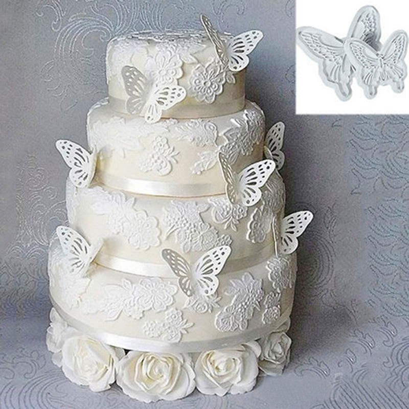 Plastic Butterfly Shape Cake Fondant Mold And Cookie Plunger Cutter Tools 2