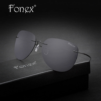Rimless Aviador Sun Glasses Titanium Men Brand Designer Aviation Coffee Black Frame Mirror Gray Polarized Sunglasses