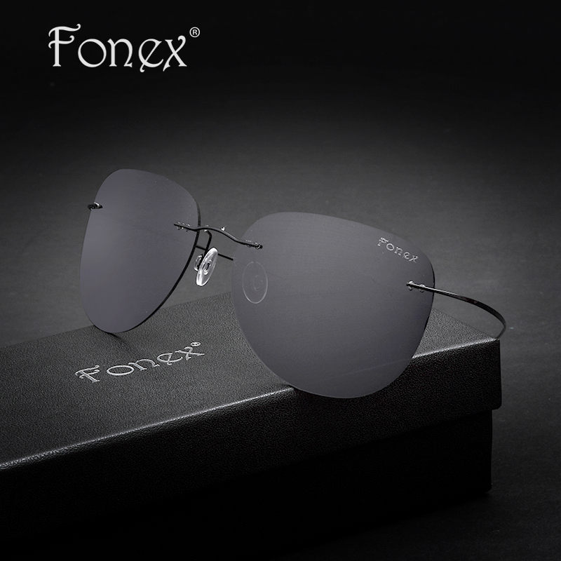 5c9736678c FONEX No Screw Rimless Aviador Titanium Sunglasses Men Brand Designer  Aviation Coffee Black Frame Mirror Polarized Sun Glasses