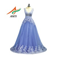 ANTI Vintage purple Evening Dress Long Vestido De Festa V Neck Appliques A Line Formal Party Gown Bridal Dresses Custom Made