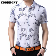 COODRONY Brand Men Shirt Business Casual Shirts 2019 Summer Cool Streetwear Floral Slim Fit Short Sleeve Cotton Shirt Men S96052 цена