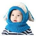 2015 зима ребенка шляпу и шарф щенок дизайн с капюшоном крючком шарф девочка мальчик малыш шеи дети теплее снежная шапка фотографии реквизит