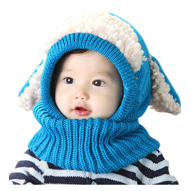 2d7658ed7f3 2019 winter baby hat and scarf puppy design hooded crochet scarf girl boy  toddler kids neck