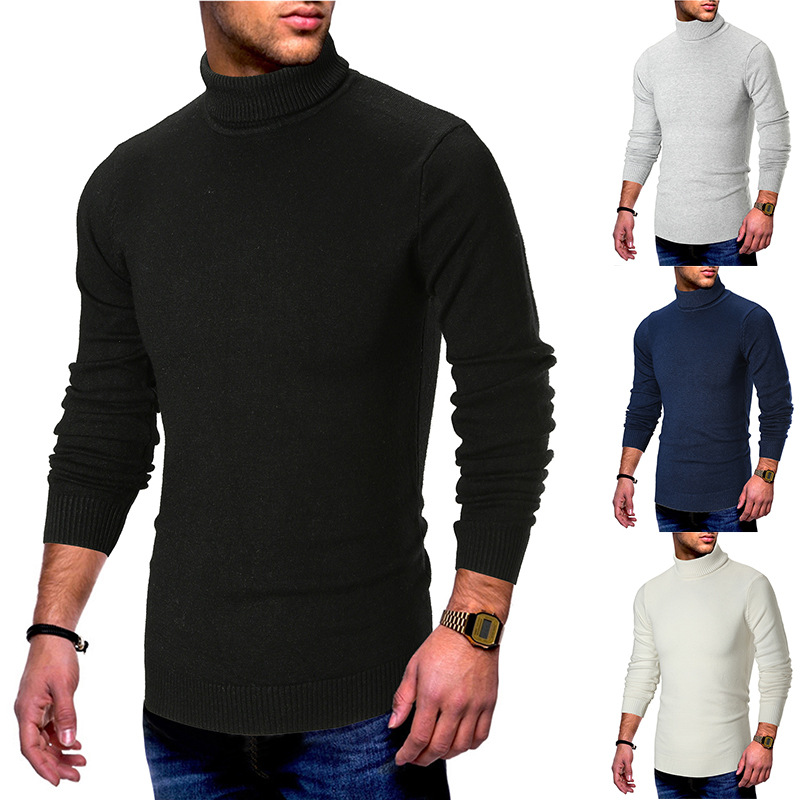 Casual Solid Autumn Casual Men'S Sweater Turtleneck Slim Fit Knittwear Mens Sweaters Pullovers Winter Blue Men Pull Homme M-2xl