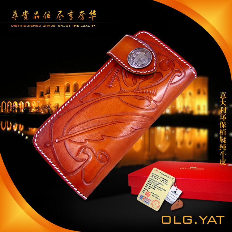 OLG.YAT Italian Vegetable tanned cowhide handmade long section of hasp art wallet elegant retro handbag Fiscal cloth piero della francesca masters of italian art