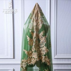 Image 4 - Jusere ירוק טול זהב תחרה אפליקציות חזרה רכבת מלא מבריק נצנצים חרוזים ארוך חתונה נישואי 3 m Sparkle כלה רעלה 2018
