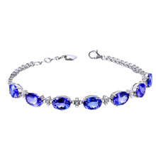 2017 new Chain Link Luxury Bracelets Women Jewelry  White Gold Color simulated  Blue Crystal bracelets