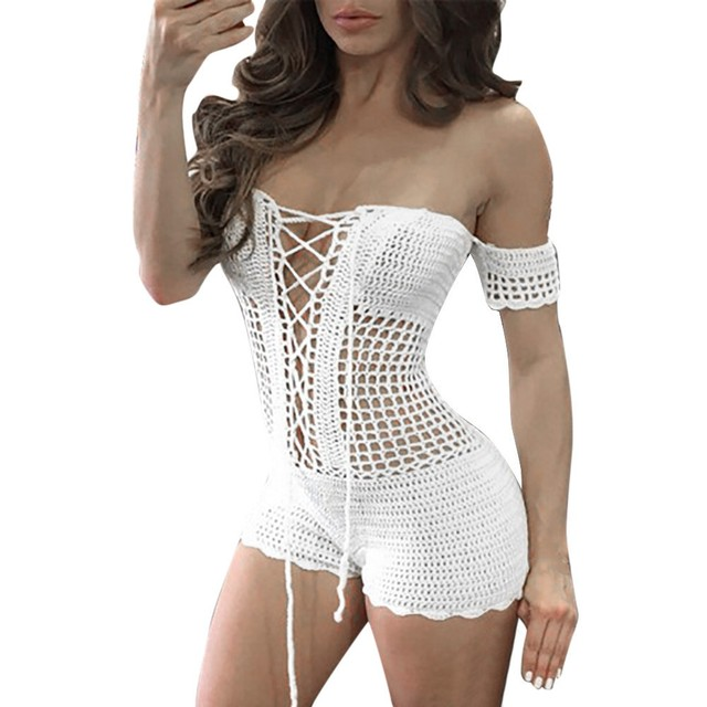 Free Ostrich Women Sexy Crochet Beach Short Sleeve Off The Shoulder Fishnet Sarong Handmade Bodycon Knitting Jumpsuit D1235