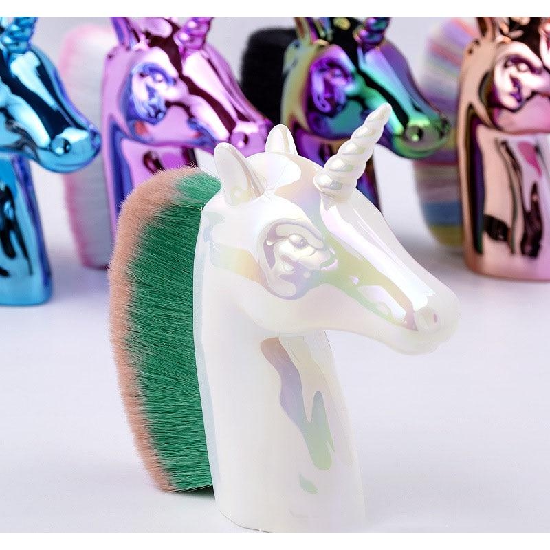 New Unicorn Horse Makeup Brushes Colorful Synthetic Hair Face Cosmetic Powder Blush Brush Nail Art Beauty Tools Kits Gift 4