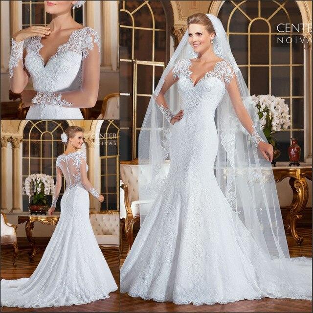 vestido de noiva 2015 romantic mangas largas sirena vestidos de