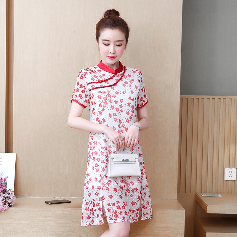 2020 Cotton Linen Qipao Dress Traditional Chinese Folk Style Improved Plate Buckle Printing A Line Cheongsams Dresses